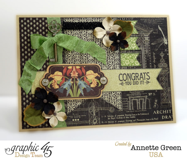 Learn how to make this great graduation card by Annette using Artisan Style! What a great tutorial #graphic45