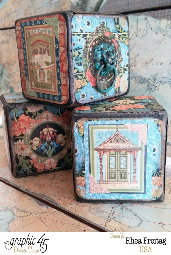 Amazing Artisan Style altered blocks by Rhea #graphic45