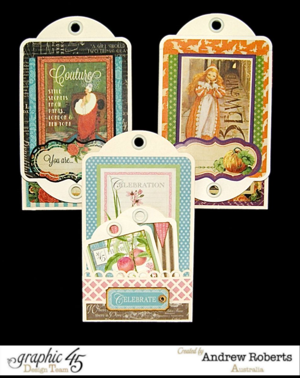 A great tag trio from Andrew using our ivory large tag staples and Couture, An Eerie Tale, and Botanical Tea #graphic45