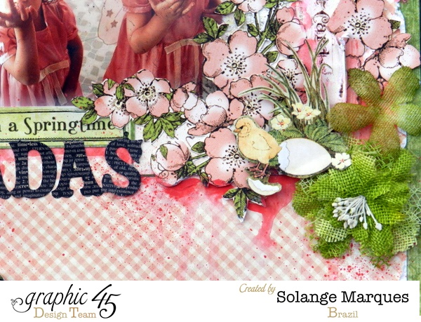 Solange's fussy cutting is perfect on this Once Upon a Springtime layout by Solange! #graphic45