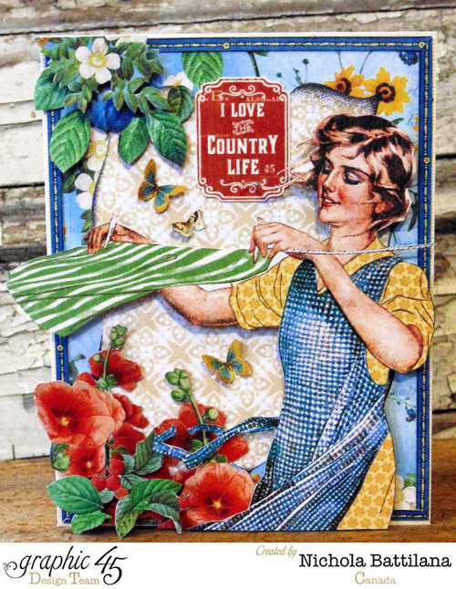 "Gorgeous flowers and leaves on this beautiful ""I love the country life"" card by Nichola! Stunning #Graphic45"