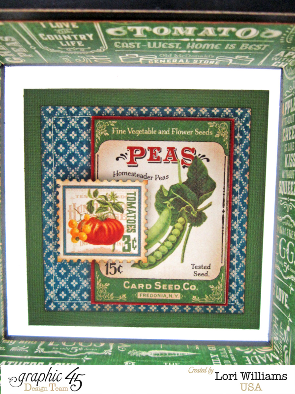 """""""Peas"""" imagery on this awesome Graphic 45 Home Sweet Home Mixed Media Box by Lori Williams #graphic45"""