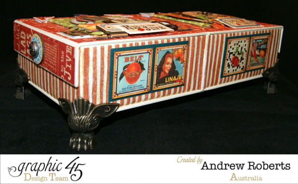 Times nouveau haberdashery box by Andrew Roberts! He used two mixed media boxes and our Claw Feet Staples to make this awesome project #graphic45