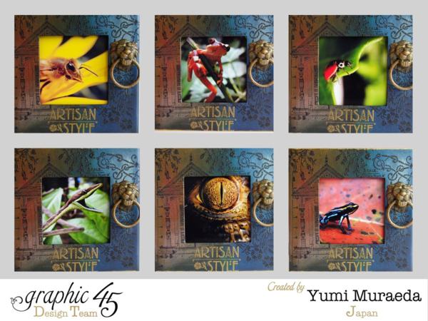 Mixed Media Artisan Style photo stand by Yumi Muraeda. Amazing photos as well! #graphic45