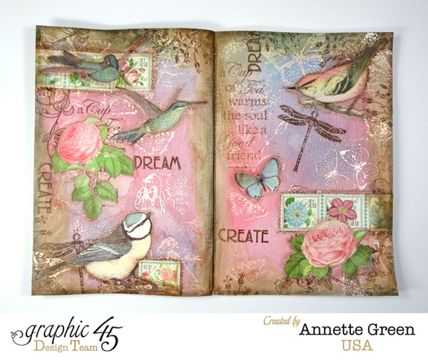 Botanical Tea art journal page by Annette. Come see her video about these absolutely gorgeous pages! #graphic45