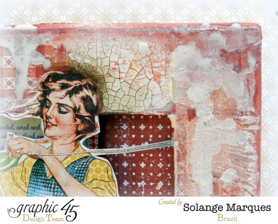 Love the crackle technique on this magnificent mixed media on this Home Sweet Home 8x8 Matchbook Box by Solange! #graphic45