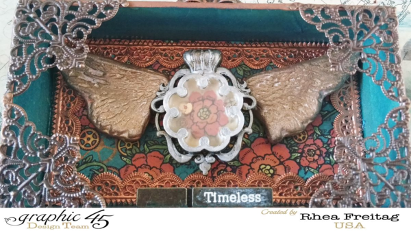 Learn how to make this Steampunk Spells shrine box by Rhea Freitag! Amazing technique with stamps! #graphic45