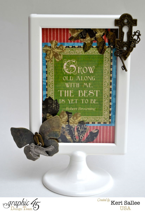 Learn how to make Washi Tape stickers which are displayed on this fabulous altered frame by Keri #graphic45