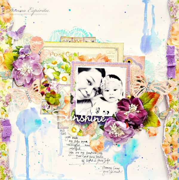Time to Flourish & Sweet Sentiments mixed media layout by Donna #graphic45