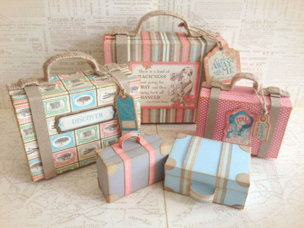 Come Away with Me stacked suitcases by Katie #graphic45