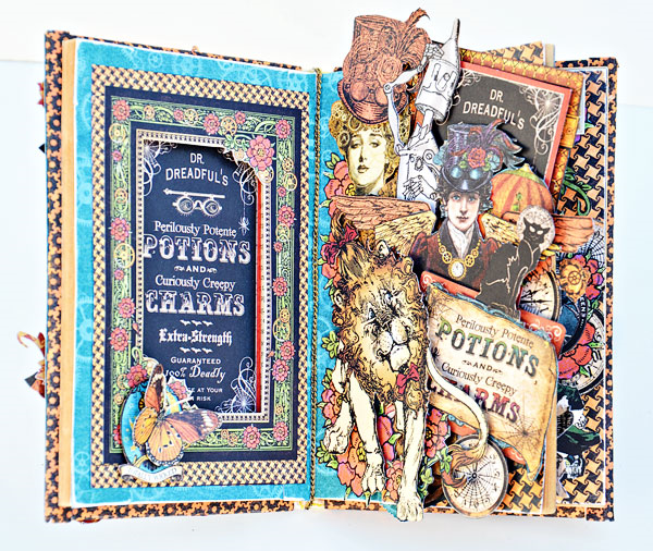 Awesome layers of images on this Steampunk Spells altered book of spells by Joanne Bain #graphic45