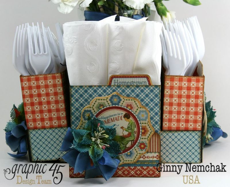 Home Sweet Home Floral Centerpiece Napkin and Utensil Holder 3