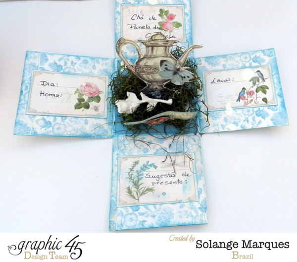 Bridal Shower Invitations by Solange Marques- Graphic 45 Botanical Tea Collection