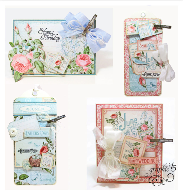 Click for the June Time to Flourish cards and tag Project Sheet #graphic45