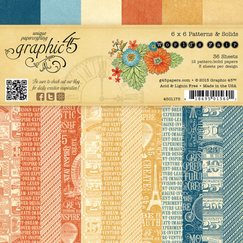 World's Fair 6x6 Patterns & Solids Paper Pad, this new collection will be in stores in late August #graphic45 #sneakpeeks