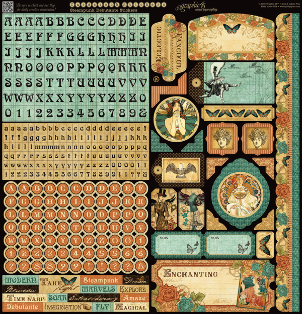 Steampunk Debutante cardstock stickers that come with the Deluxe Collector's Edition pack #graphic45 #sneakpeeks