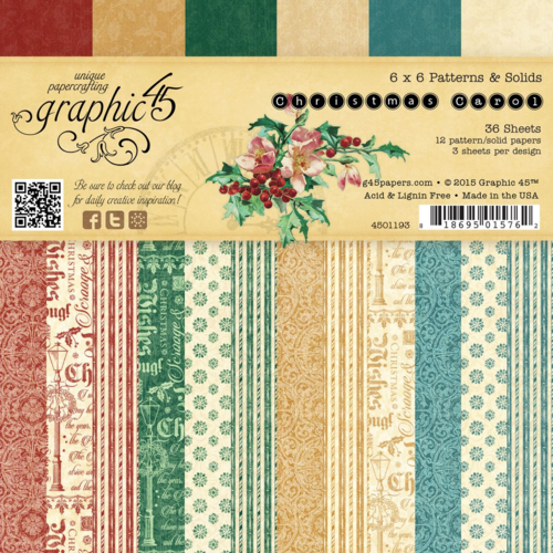 The 6x6 Patterns & Solids Paper Pad of A Christmas Carol. This new collection will be in stores in late August 2015 #graphic45 #sneakpeeks