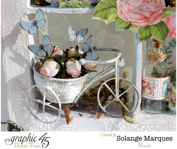 Graphic 45 Window Shadow Box by Solange Marques with G45 Botanical tea collection