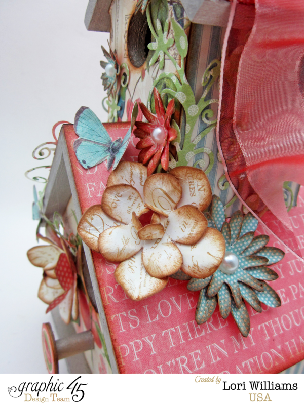 Love Birds and birdhouse by Lori Williams using Botanical Tea Collection product by Graphic 45