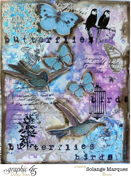 Art journal by Solange Marques using Graphic 45 Botanical Tea collection #graphic45