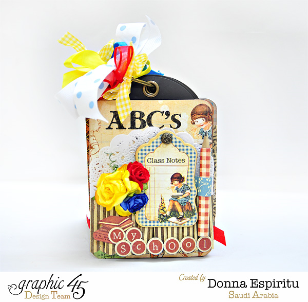 An ABC Primer tag album by Donna using G45 and Clearsnap #graphic45
