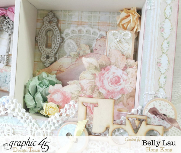 Baby 2 Bride Shadow Box - Graphic 45 - Clearsnap Blog Hop - Baby 2 Bride - Belly Lau #graphic45