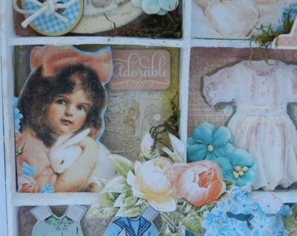 Shadow Box by Solange Marques with Graphic 45 Precious Memories collection and Clearsnap products