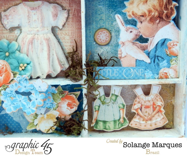 Shadow Box by Solange Marques with Graphic 45 Precious Memories collection and Clearsnap product