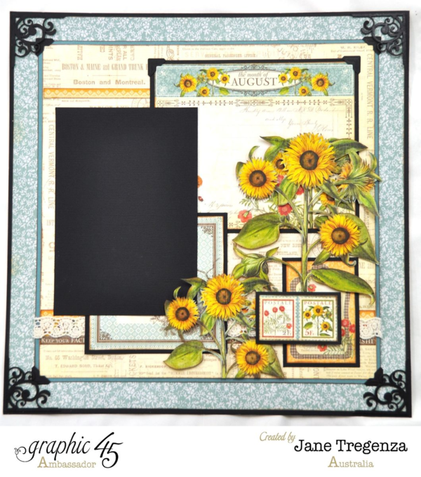 Left side of the August Double Layout using Time to Flourish by Jane #graphic45