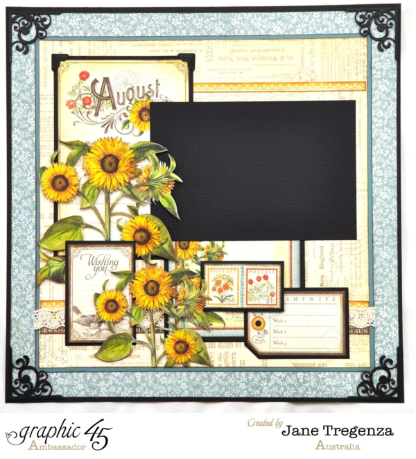 Right side of the August Double Layout using Time to Flourish by Jane #graphic45