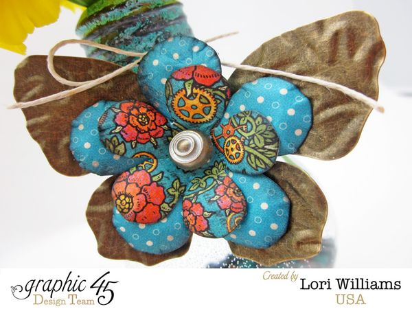 Graphic 45 Steampunk Spells Vase 2 close up by Lori Williams