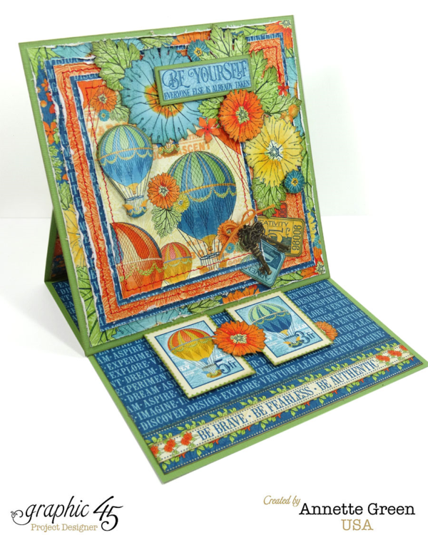 6x6 easel card by Annette using World's Fair #graphic45