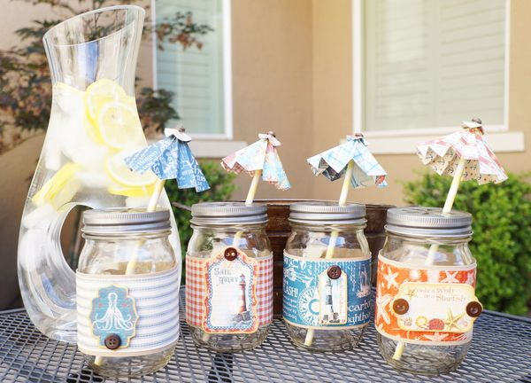 Make these mason jar straws and decorations with a tutorial from Arlene! #graphic45