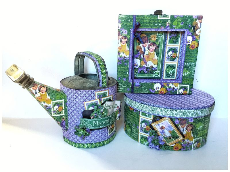 Children's Hour March Watering Can, Photo Frame, and Hat Box