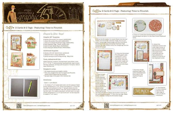 Try this November Time to Flourish cards and tags project sheet from #graphic45