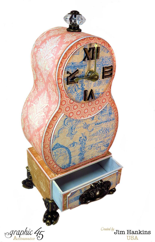 Jim, the Gentleman Crafter's Swedish Table Clock with both A Christmas Carol and Gilded Lily! #graphic45