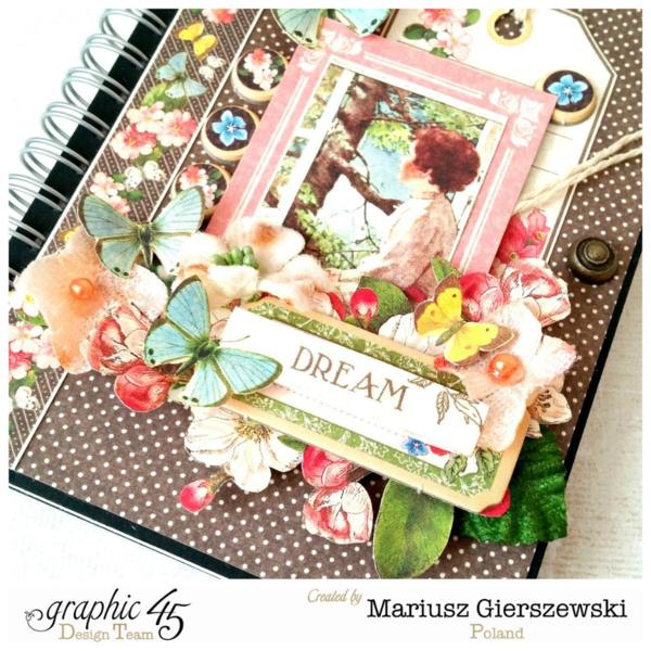 Mariusz's beautiful altered journal using Children's Hour and Petaloo flowers #graphic45 #petaloo