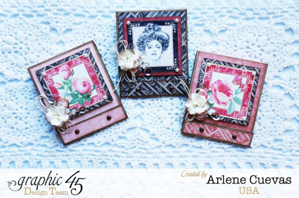 Handmade Mon Amour matchbook boxes + tutorial by Arlene for Valentine's Day that perfectly fits a Ghirardelli chocolate! #graphic45 #tutorial