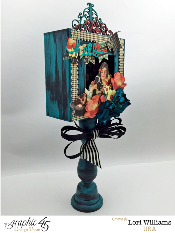 Lori Williams Designing for Graphic 45 Shadow Box on a Stand using the Raining Cats and Dogs Collection