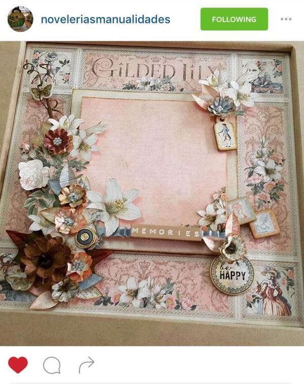 Beautiful Gilded Lily scrapbook layout by @noveleriasmanualidades #graphic45