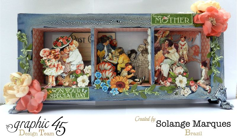 May Art Blog Hop- Window Shadow box by Solange Marques using G45 Children's Hour Collection- 1