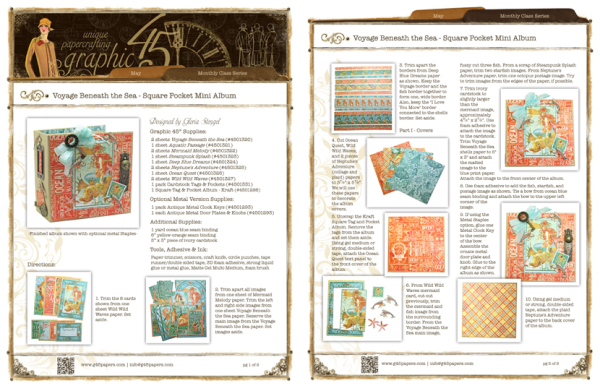 Click to find the printable project sheet for this Voyage Beneatht the Sea Square Tag Album #graphic45