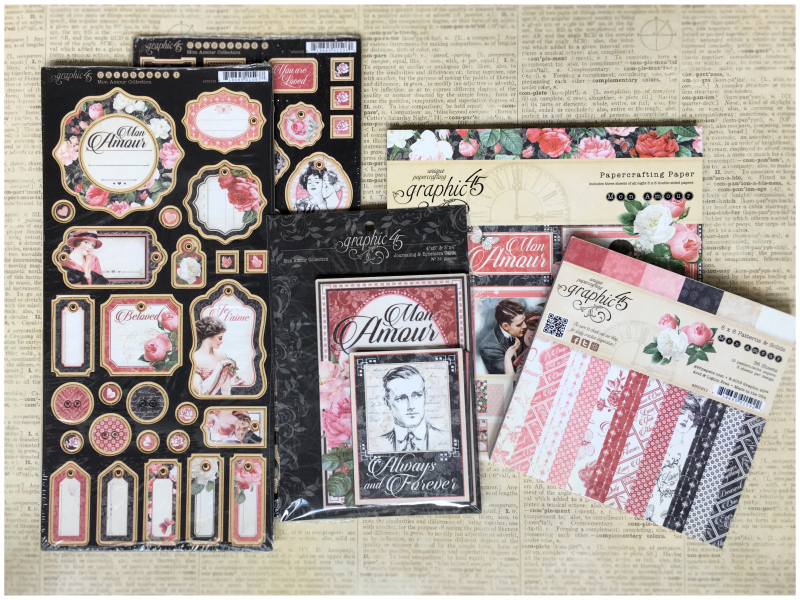 (2) Mon Amour 8x8 6x6 Paper Pad Prize Pack Graphic 45