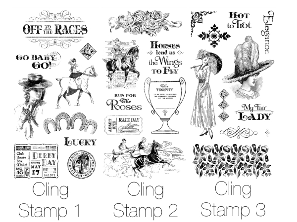 Off to the Races Hampton Art Cling Stamps 1, 2, & 3