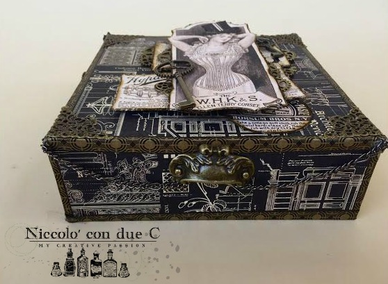 Steampunk box, DIY paper, Tutorial by Nico Scrap, Product by Graphic 45, Photo 4