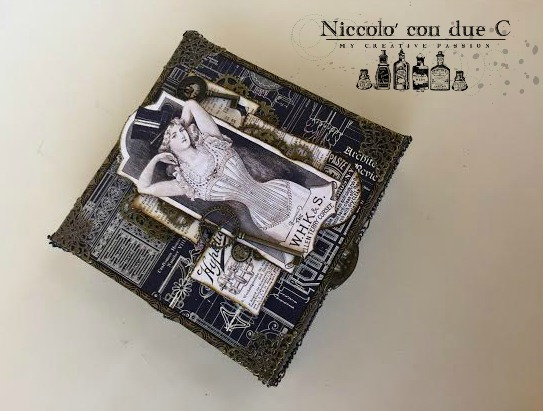 Steampunk box, DIY paper, Tutorial by Nico Scrap, Product by Graphic 45, Photo 2