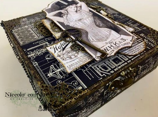 Steampunk box, DIY paper, Tutorial by Nico Scrap, Product by Graphic 45, Photo 3