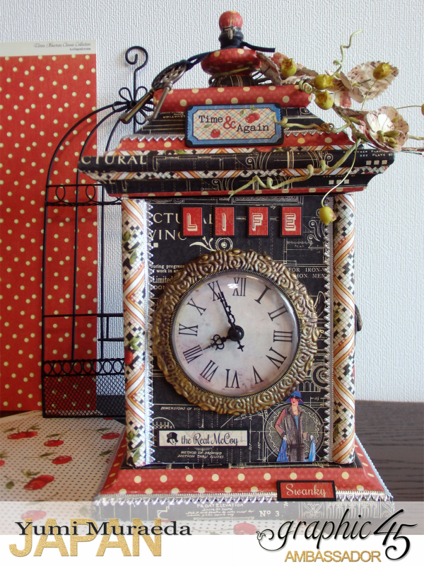 1Up Cycle Graphic45 DIY Craftpaper with Times Nouveau Secret Clock by Yumi Muraeada Product by Graphic 45 Photojpg