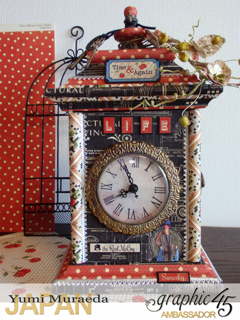 2Up Cycle Graphic45 DIY Craftpaper with Times Nouveau Secret Clock by Yumi Muraeada Product by Graphic 45 Photojpg
