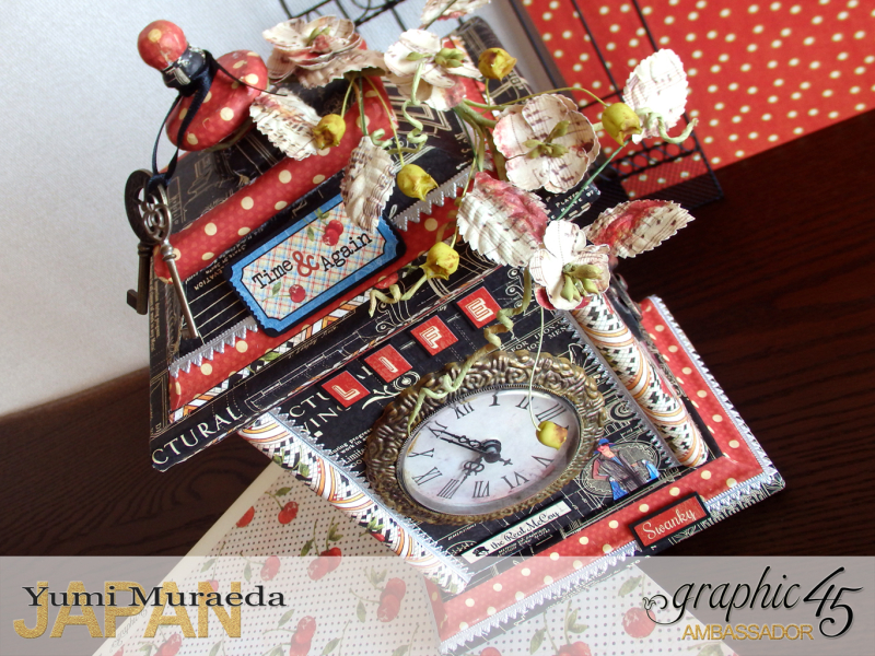 5Up Cycle Graphic45 DIY Craftpaper with Times Nouveau Secret Clock by Yumi Muraeada Product by Graphic 45 Photojpg